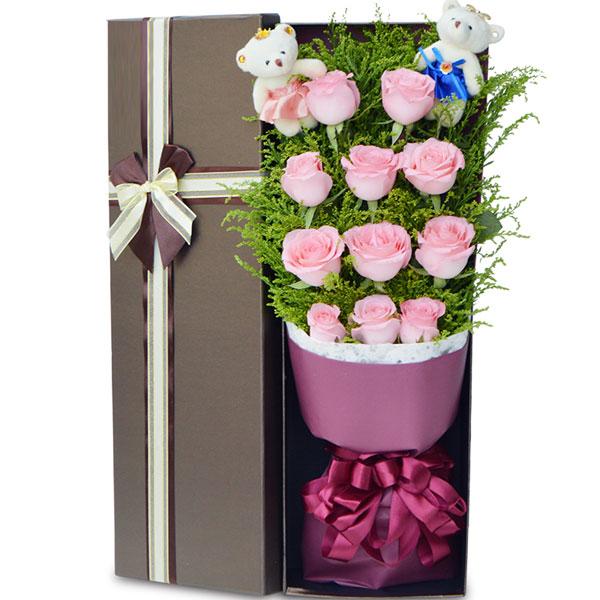11朵粉玫瑰礼盒