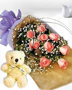 9朵粉玫瑰花/爱着是美丽