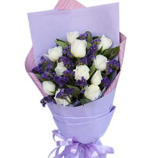 11枝白玫瑰色勿忘