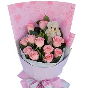 11枝粉玫瑰,爱
