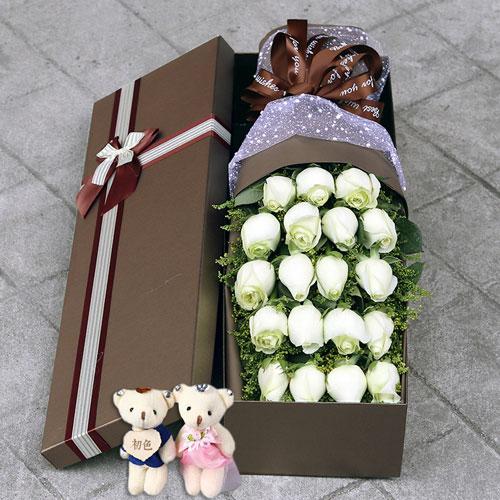 19朵白玫瑰礼盒